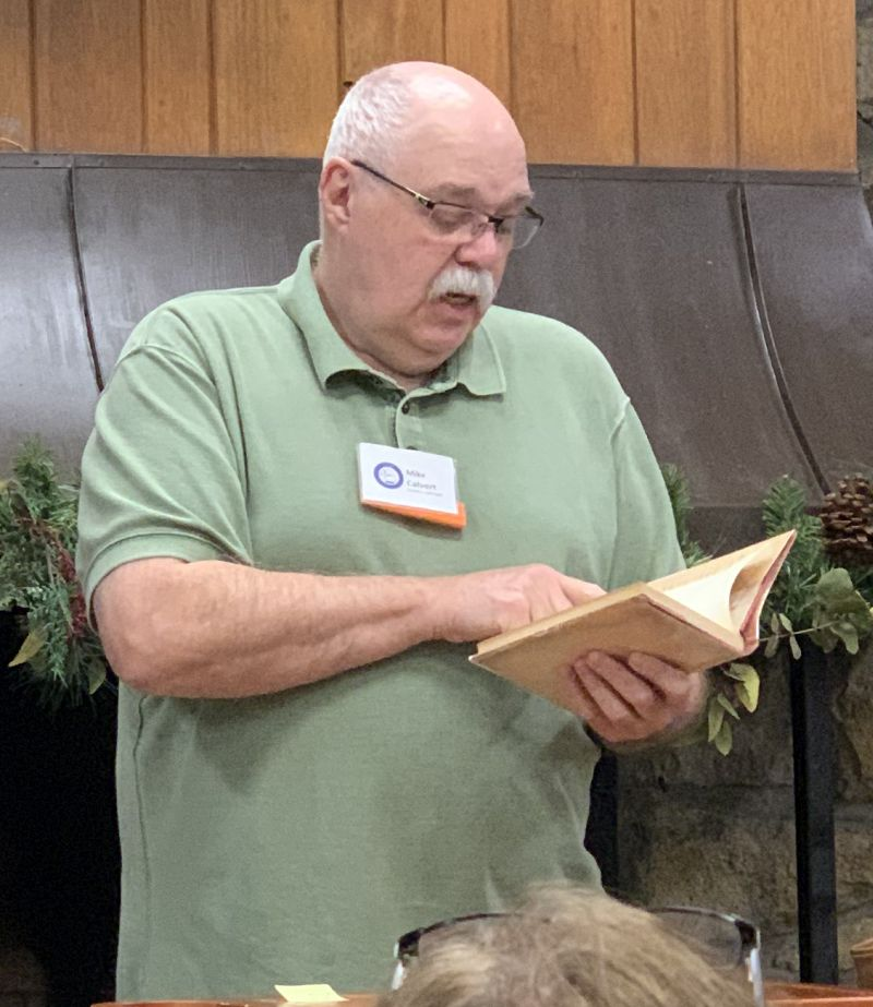 Mike Calvert reads from one of his Civil War era book